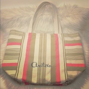 Aritzia Tote Bag Brown/Pink Cotton Canvas Lined